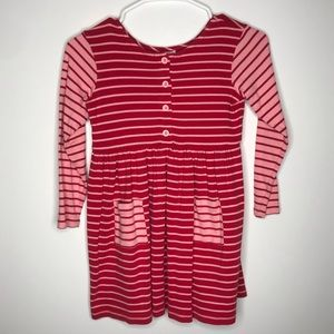 Hanna Andersson pink & red striped dress sz 6-7